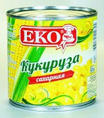 Консервы натуральные «Кукуруза сахарная в зернах в вакуумной упаковке» стерилизованная ТМ «EKO»